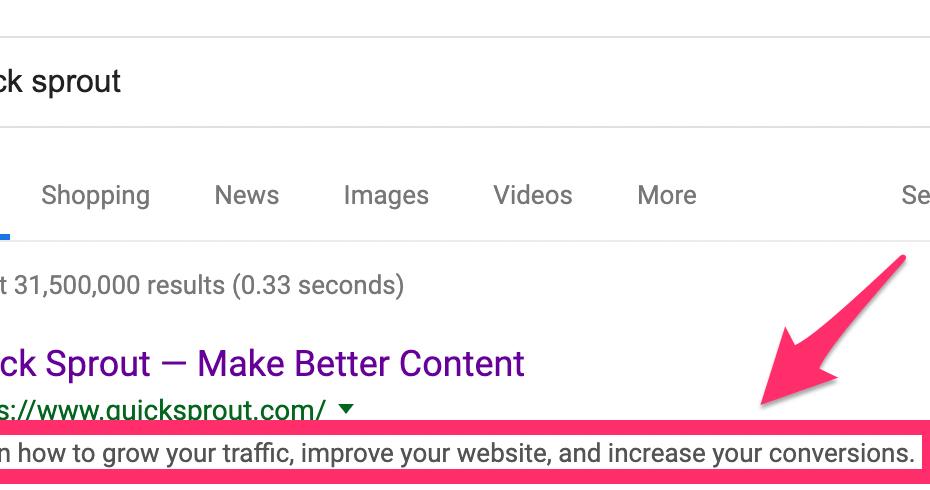 Description de la méta-déta de Google